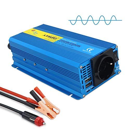 Yinleader Wechselrichter 1000W /2000W 12V 230V Reiner Sinus Spannungswandler Power Inverter mit 1 Steckdose 2 USB Anschlüsse