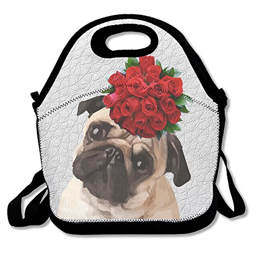 Modo Design Funny Sanftes Yoga Pug Life Keep Calm and Love Pugs Lunch Bag Handtasche Lunchbox Food Container Tote Cooler Warm Tasche für Schule Arbeit Büro (Quiksilver Lunch-box)