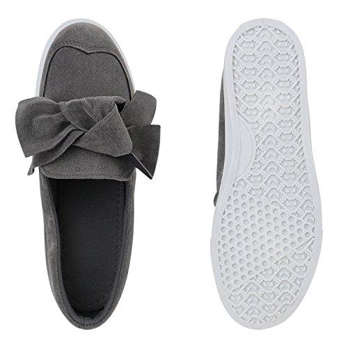Damen Slipper Sneakers Slip-ons Lederoptik Schuhe Schleifen Grau Weiss Schleife