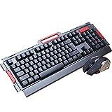 WANG Drahtlose Tastatur Maus Set Ergonomische 2,4G Schnurlose Tastatur Maus Combo Für Desktop PC Home Games Büro Notebook (Schwarz, Weiß) (Farbe : Schwarz)