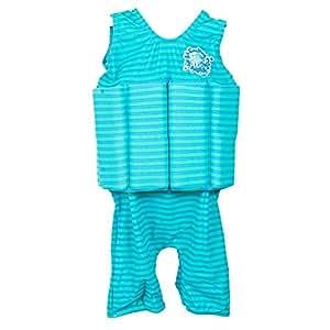 Splash About Kids Short John Floatsuit with Adjustable Buouyancy - Blue Lagoon Stripes, 1-2 Years