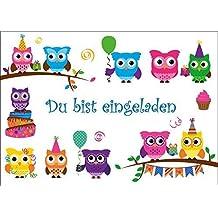 Außergewöhnlich 8 Er Set Lustige Eulen Einladungskarten (10645) Zum Kindergeburtstag Oder  Zur