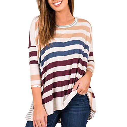 Rcool Damen Frühling /Sommer T-Shirt, gestreift, Langärmlig Basic Langarm Bio Tshirt mit U-Ausschnitt, Leichter Biobaumwolle (Violett, S/38) (Popeline-hemd Baumwolle Bio)