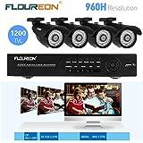 Floureon Kit de Vidéosurveillance 8CH 960H/D1 HDMI DVR CCTV Sécurité 4 Caméras Extérieur 1200 Lignes Vision Nocturne avec Système Cloud Accèss à distance via Smartphone ou PC