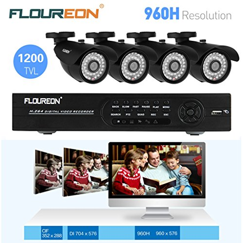 Floureon® Kit CCTV DVR Sorveglianza System – 1 X 8CH 960H/D1 DVR + 4 X Outdoor 1200TVL HDMI Sicurezza Camera (Hard Drive non Incluso)
