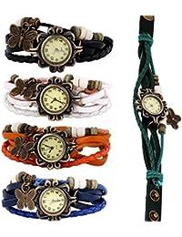 Sannysis Nuevos mujeres al por mayor de la mariposa de la pulsera del reloj (5pcs)