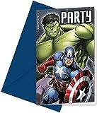 12-teiliges Einladungskarten Set * Avengers Assemble * für Geburtstagsfeier oder Motto-Party // 6 Einladungskarten mit 6 Umschlägen // Kinder Geburtstag Einladungen Invitations Superheld Marvel Comic