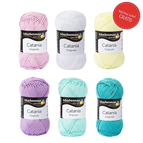 MyOma Baumwolle zum Häkeln * Wollpaket Pastell klein * 6 Knäuel Schachenmayr Catania - Schachenmayr Garn - Catania Wolle - 50g/120m, Nadelstärke 2,5-3,5mm - Wolle Set Schachenmayr -