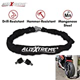 #1: AllExtreme Bike Motorcycle Heavy Duty HELMET Lock, Chain Lock with 2 Keys Anti-Theft Luggage Lock Device Heavy Duty Chain Secure Lock for Helmet Bike Motorcycle Bicycle Bag Luggage Garage Door and Grill