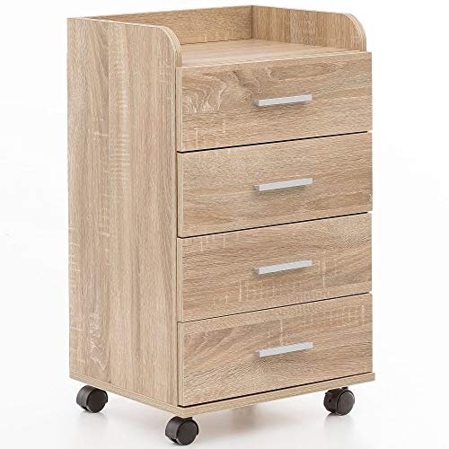 FineBuy Rollcontainer FB13590 40x70,5x33cm Sonoma | Schreibtisch-Container Rollschrank 5 Schubladen | Moderner Schubladencontainer mit Rollen | Standcontainer Bürocontainer Beistellcontainer