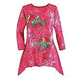 Christmas Damen Sweatshirt UFODB Elegant Frauen Weihnachten Irregular Weihnachtspullover Drucken Hemd Langarm Top Langarm Mantel Pulli T-Shirt