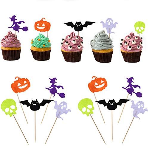 (Boao 50 Stücke Halloween Kuchen Topper Party Kuchen Dekoration Kürbis Ghost Fledermäuse Hexe Schädel Form Kuchen Picks für Kuchen Gericht Dekoration)
