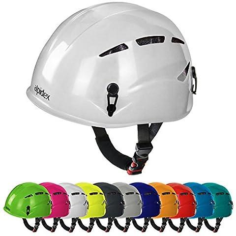 Casque d'escalade et d'alpinisme universel ARGALI via ferrata en beaucoup couleurs modernes de Alpidex, Couleur:bright white