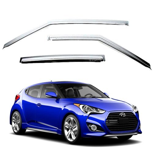 Chrome Sun Visors Vent Shade/Rain Window Guards for 2011 2012 2013 2014 Hyundai Veloster by Veloster (11 ~ 14)