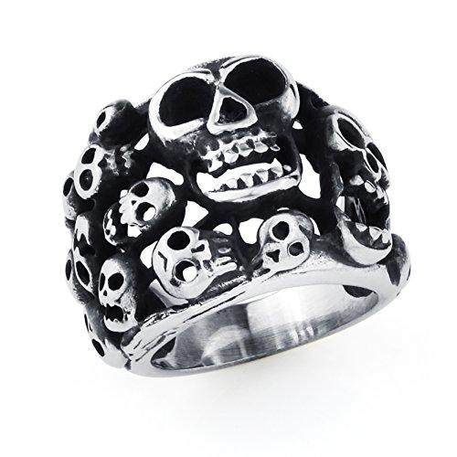 Mode Mens Edelstahl Schädel Biker Ring Silber Skelett Gothic Ringe (Schach Stück Kostüme)