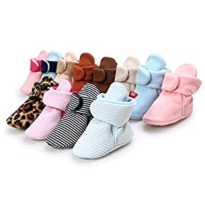 Sabe Boys Girls Hi-Top Warm Up Fleece Lined First Pram Shoes Baby Booties Slippers Socks Crib Shoes