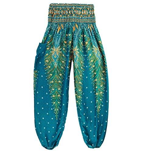 ZEZKT☼Blumen Sommer Pumphose Haremshose Harem-Stil Lange Yoga Hose Hippie Hose Lange Harem Hosen Aladinhose Boho Loose Hohe Taille Yoga Hosen Jogginghose Hohe Taille Fitness (One Size, Hellblau)