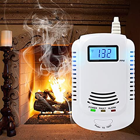 Gas Alarm Detector Gas and CO Combination Alarm Plug-In with Voice Warning Alarm Sensor LCD Digital Display and 9V Battery Back Up for Kitchen Bathroom Bedroom Living Room Office Study Room Basement Garage Car etc (9V Rechargeable Battery not included)