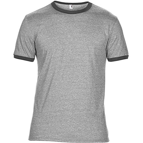 Anvil Mens Adult Lightweight Ringer T Shirt Grey