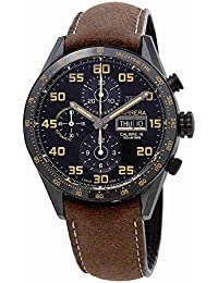 Uhr Tag Heuer Carrera cv2 a84.fc6394 Schalter Titan Quandrante schwarz Armband Leder