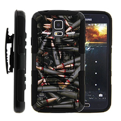 turtlearmor | Kompatibel für Samsung Galaxy S5Case | G900| i9600[Hyper Schock] Rugged Hybrid Hard Shell Ständer Ausgestattet Silikon Holster Gürtelclip Krieg und Military Design -, Black Bullets (Mobile Samsung Boost Telefone S5)