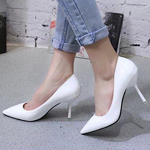 ... Damen Pumps Slip On Spitz Zehen Stilettos Arbeitschuhe Lackleder Tragen  OL Beständige Schuhe Weiß cbac48b8a3
