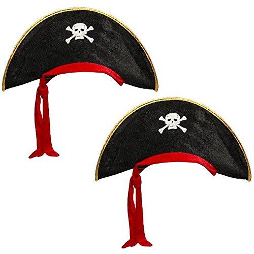 (com-four® 2x Piratenhut für Kinder und Erwachsene mit integriertem rotem Kopftuch für Motto-Partys oder andere Feiern (02 Stück - Pirat schwarz/rot/goldfarben))