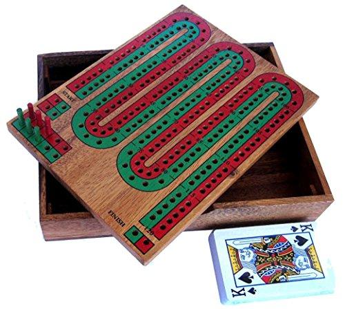 Cribbage - Kartenspiel mit Zählbrett aus edlem Samena Holz