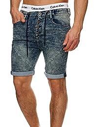 Sublevel Herren 5-Pocket Jeans Shorts mit Tunnelzug Bermuda Joggjeans Washed Denim Used Look 30 30 31 32 33 34 36 38