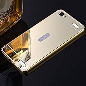 Droit Luxury Metal Bumper + Acrylic Mirror Back Cover Case For SamsungS6 Gold + Flexible Portable Thumb OK Stand by Droit Store.