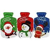 COM-FOUR® 3x Taschenwärmer 'Elch, Weihnachtsmann und Schneemann' mit Fleece...