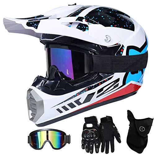 QYTK® Motorradhelm Motocross Helm Kinder Schwarz und Weiß, MT-60 Full Face Off-Road Motorrad Cross Helme mit Brille Maske Handschuhe, Motorbike MTB Freien Sport Motorcycle Helmet Set,S(52~53CM)