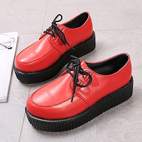 2c577d23e Basket Semelle Gothique À 41 Lacet Rouge Creepers Chaussures Epais ...