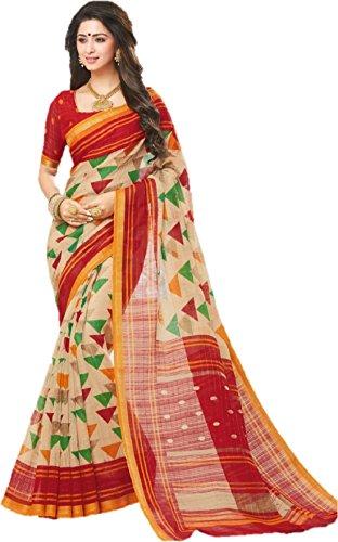 GiniGold Women's Cotton Silk Saree with Blouse Piece, Free Size (Multicolour, SAMUDRIKA-6)