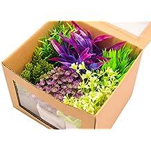 BPS (R) Planta Artificial Plástico Decoración para Pecera Acuario, incluso decoración de la mesa. Base cuadrado: 4.9 X 4.9 cm
