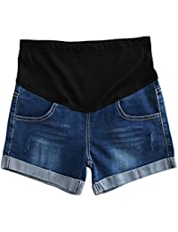 Hzjundasi Mode Dame Weich Kurze Jeanshosen Umstandsshorts/Umstandshose mit Bauchband Slim fit
