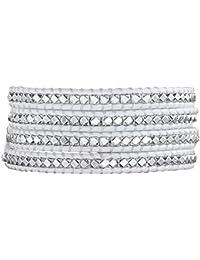 Rafaela Donata Damen-Armband Leather Collection Leder weiß Metallbeads silberfarben 60831013