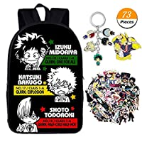 GOTH Perhk My Hero Academia Backpack Cosplay School Bag Daypack Shoulder Bag Bookbag Backpack with Stickers, Brooch and Keychain As Gift