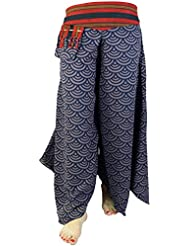 Palazzohose Hosenrock Schlaghose Sommerhose Hippie Goa Hose -blau / lange Hosen