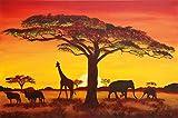 Fototapete Sonnenuntergang in Afrika Wand-dekoration - Wandbild Savanne Poster-Motiv by GREAT ART (210 x 140 cm)