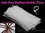 Gadget Hero's Nylon Cable Ties / Tie Wrap / Hose Tie / Zip Tie. 1.8 x 100 mm. 100 pcs. White. Small