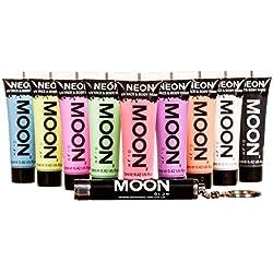 Moon Glow - Pastel Pintura Corporal y Facial 12ml UV GLOW Conjunto De 9 Tubos Neón Fluorescente incandescente - UV LUZ INCLUIDO