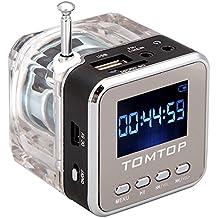 Andoer mini digital portátil altavoz de la música - MP3/4 Player Micro SD/TF USB disco Radio FM con antena telescópica y salida para auriculares y funciones negro