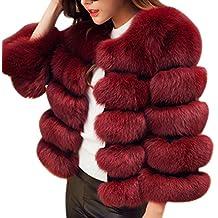 LaoZan Cárdigan Chaqueta Abrigo de Piel Artificial Corto Dulce Elegante y  Cálido para Invierno - Vino 46f442d9d788