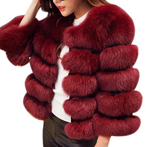 Laozan donna caldo di lusso faux pelliccia di volpe cappotto corto - vino rosso - small