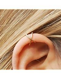HOMEYU® Ear Cuff, Double Ear Cuff and Criss Cross Ear Cuff, No Piercing, Cartilage Ear Cuff, Simple Ear Cuff, Fake Cartilage Earring-Gold (Set of 2)