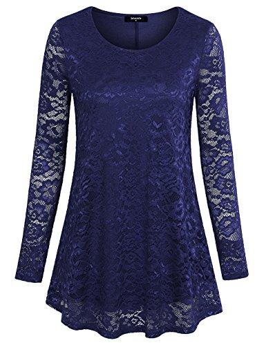 Shirt mit Rundhalsausschnitt Für Damen, Laksmi Frauen Langarm Spitze Tunika A-Line Floral Freizeit Bluse Dunkelblau,S