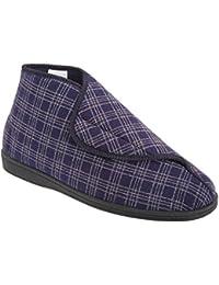 Sleepers - Zapatillas/Botas de estar por casa anchas con cierre de velcro Modelo Brett II Hombre caballero