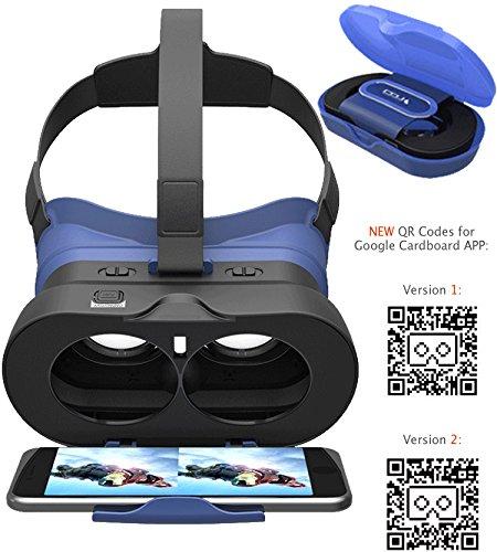 VR-PRIMUS GO - Gafas de Realidad Virtual - Con botón, banda ajustable y caja de almacenamiento - Para smartphones Android y iOS como iPhone, Samsung, HTC, LG, Huawei, Motorola, OnePlus, ZTE y muchos más - Compatible con aplicaciones de Google Cardboard - Para smartphones entre 4,7 y 6 pulgadas - 3D virtual reality video headset / vr goggles / glasses.