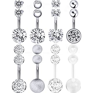 Hestya 8 Pieces Belly Button Rings 14 G Stainless Steel Women Navel Rings Barbell Body Piercing Jewelry with 8 Pieces Replacement Balls (Steel Color)